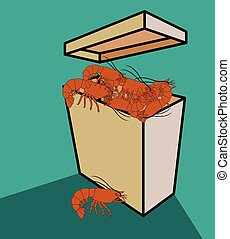 Shrimps Basket Vector Illustration