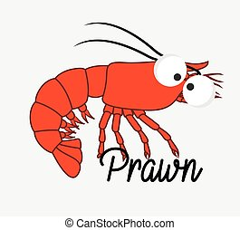 Funny Prawn Fish Vector Illustration