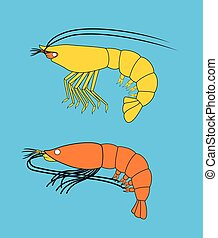 Prawn and Shrimp Fishes Vector Illustration