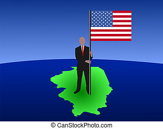 man on map of Illinois with flag