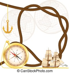 sea travel frame - vector frame with tallship, compass,...