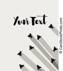 Flies Silhouettes Vector Background