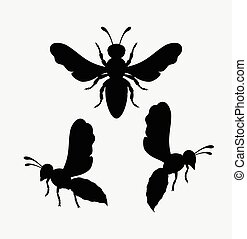 Wasps Silhouettes Vector Set