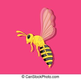Wasp Insect Flying Vector Illustration