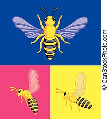 Wasps Vector - Wasps Insects Various Views Vector...