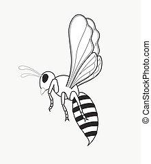 Wasp Drawing Vector Illustration