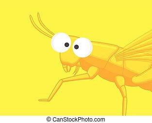Funny Grasshopper Vector Illustration