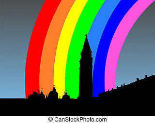 St Marks Square with rainbow - St Marks Square and Campanile...