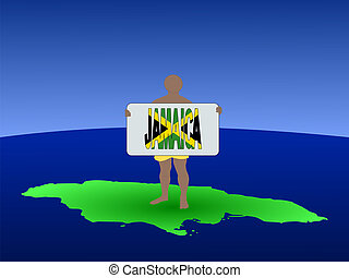 man on Jamaica with sign
