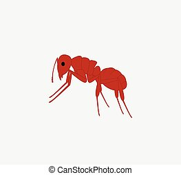 Red Ant Vector - Cartoon Red Creepy Ant Vector Illustration