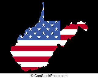 Map of West Virginia with flag - Map of the State of west...