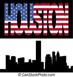 Houston skyline with flag text - Houston skyline with...