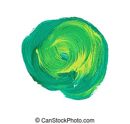 Green vector watercolor paint stain