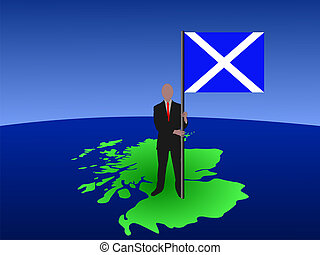 man on map of Scotland with flag