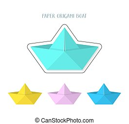 Colorful paper origami boats collection
