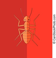 Fire Ant - Wild Creepy Fire Ant Vector Illustration