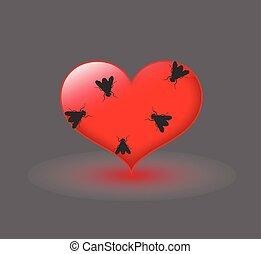 Flies on Heart Vector Illustration