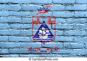 Flag of Haifa City, Israel, painted on brick wall