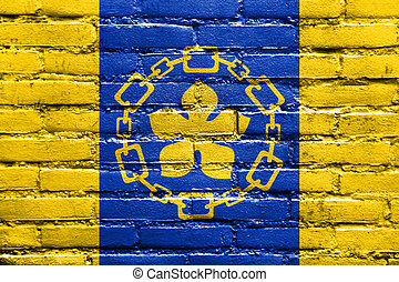 Flag of Hamilton, Canada, painted on brick wall