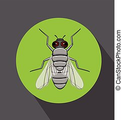 Retro Fly Insect Vector Illustration