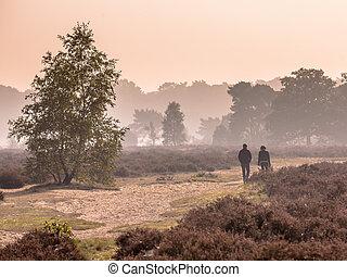 Couple strolling along path through heathland on a morning...