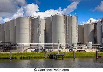 Storage tanks background - Medium sized industrial Tank...