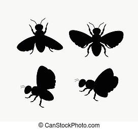Silhouettes of Bees and Flies Vector Illustration
