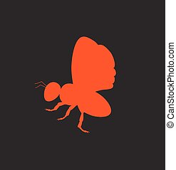Red Bee Silhouette Vector Insect