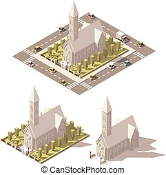 Vector isometric low poly church icon - Vector isometric low...