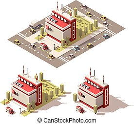 Vector isometric low poly television centre building icon -...