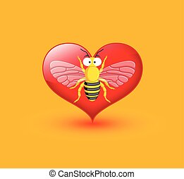 Funny Wasp Isolated on Heart Vector Illustration