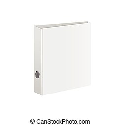 Blank closed office binder. White cover. Isometric view, on...