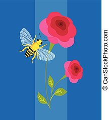 Bee Hover on Flower Vector Illustration