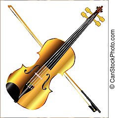 Devils Golden Fiddle - A golden violin and bow isolated over...