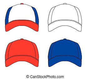 Set Of 4 Baseball Caps - Red white and blue typical baseball...