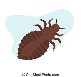 Lice Insect - Creepy Dirty Lice Insect Vector Illustration