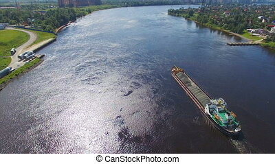 aerial view of cargo barges with crushed stone - aerial view...