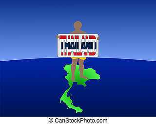 man on map of Thailand with sign