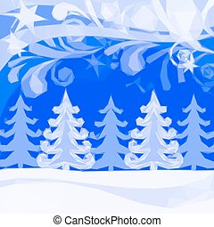 Christmas Low Poly Background, Winter Forest - Christmas...