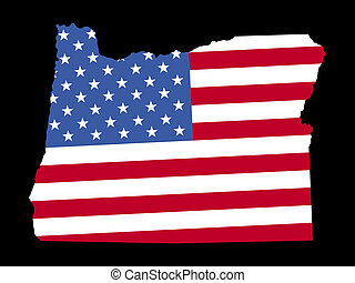 Map of Oregon with flag
