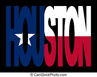 Houston with Texan flag - Overlapping Houston text with...
