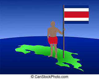 man on map of Costa Rica with flag