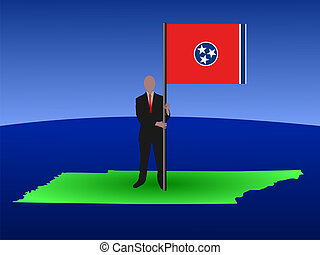 man on map of Tennessee with flag