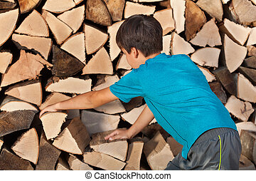 Young boy stacking firewood in the shed