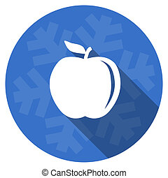 apple blue flat design christmas winter web icon with...