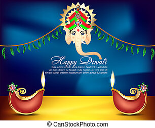 Happy Diwali Celebration background With lord Ganesha vector...