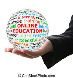 Hand take white ball with red inscription Online education -...