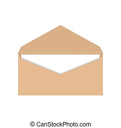 Yellow envelope with a letter, vector illustration.
