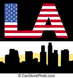 Los Angeles skyline with flag text - Los Angeles skyline...