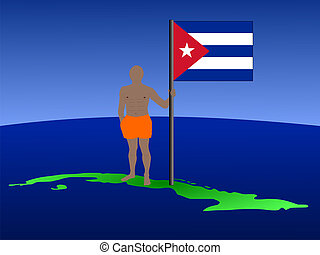 man on map of Cuba